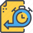 document, file, management, time, timeline icon