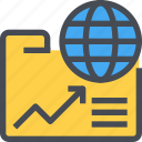 analysis, document, folder, global, report icon