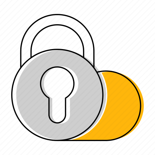 cloud, hosting, network, padlock, security, technology icon