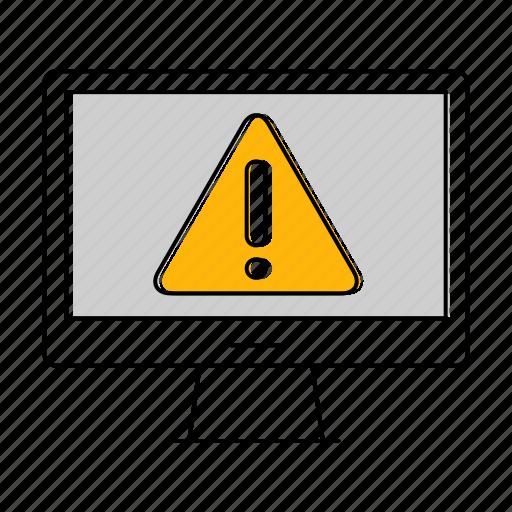 caution, computer, error, network, technology, warning icon