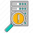 error, hosting, network, search, server, technology icon