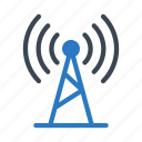 broadcast, signal, technology, tower, wireless icon