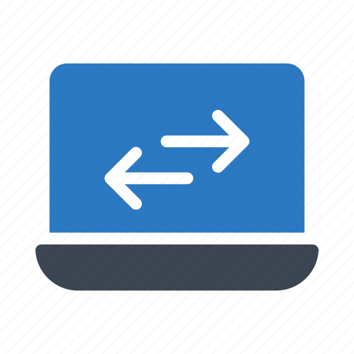 arrow, exchange, laptop, notebook, transfer icon