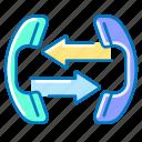 arrows, call, communication, deversion, handset