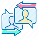 arrows, communication, message icon