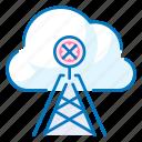 antenna, cloud, communication, connection, no-connection