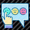 emoticons, feedback, hand, network