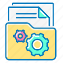 file, folder, gear, management, network icon