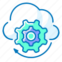 cloud, gear, network, setting icon