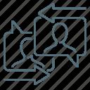 arrows, communication, message, network