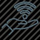 hand, network, wi-fi icon