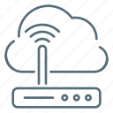 cloud, internet, network, router icon