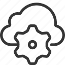 cloud, cog wheel, gear, internet, management, server, share icon