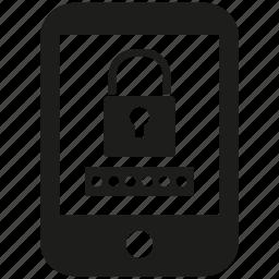 encryption, key, lock, mobile, phone, secure icon