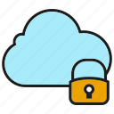 cloud, internet, key, lock, network, protect, security icon