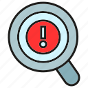 bug, caution, error, magnifier, scan, warning icon