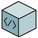 box, coding, cube, programming, software icon