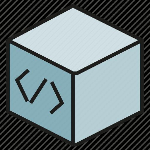 box, coding, cube, programming, software icon