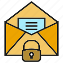 email, letter, lock, mail, paper, send, seurity icon
