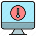 caution, computer, desktop, error, warning icon