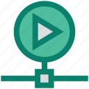 connection, media, network, play, technology, video icon