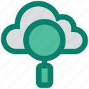 cloud, cloud computing, cloud search, interface, magnifier, network, online search icon