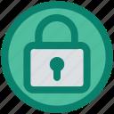 circle, lock, locked, padlock, privacy, secure, security icon