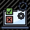 chart, check, computer, development, gear, laptop, testing