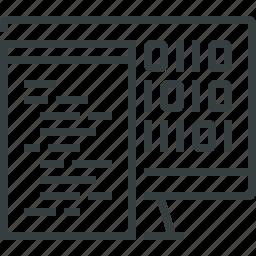 algorithm, binary, code, coding, computer, programming, script icon