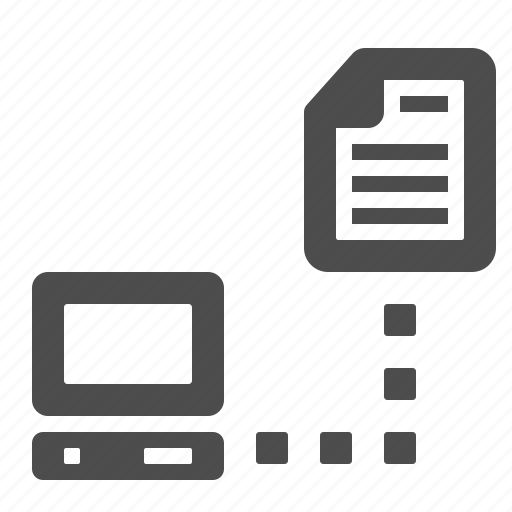 computer, connection, document, file, network, paper, pc icon