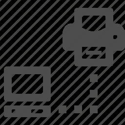 computer, network, pc, print, printer icon