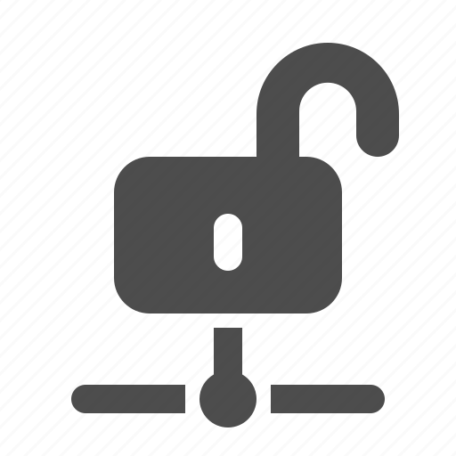 connection, lock, network, node, open, security, unlocked icon