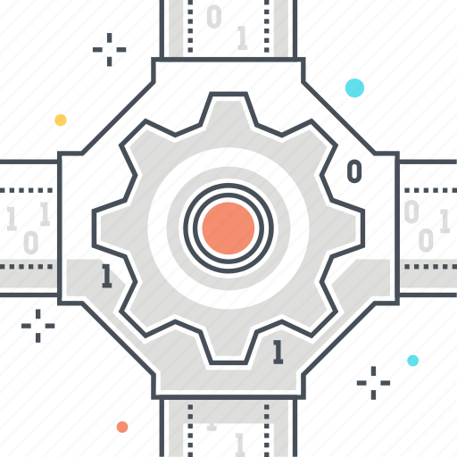 cable, cog, connection, gear, intersection, network, process icon