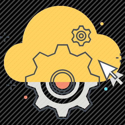 cloud, gear, machine, networking, settings, technology, virtual icon