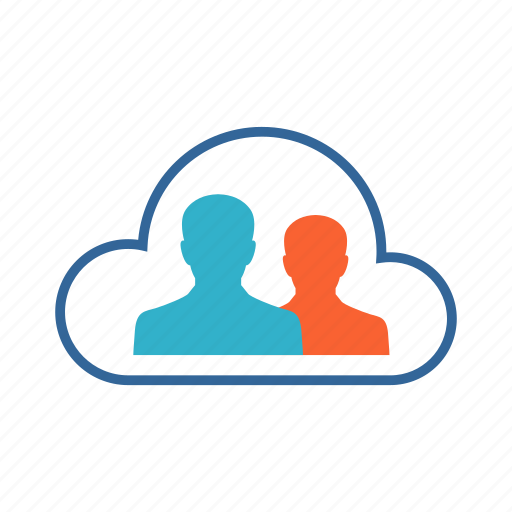 cloud, connection, data sharing, profile, users icon