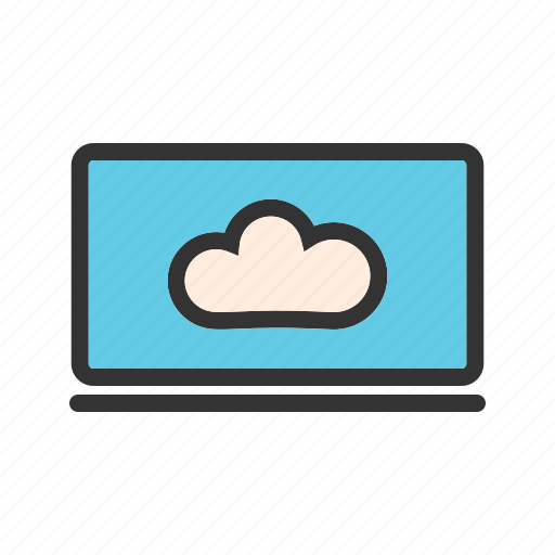 cloud, computing, digital, laptop, system, technology icon