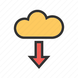 cloud, computing, data, download, internet, security, storage icon