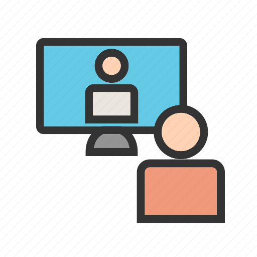 business, call, chat, conference, online, people, video icon