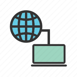 cloud, computer, laptop, mobile, network, technology, wireless icon