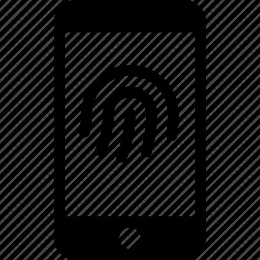 fingerprint, identity, iphone, locked, phone, sensor, touch id icon