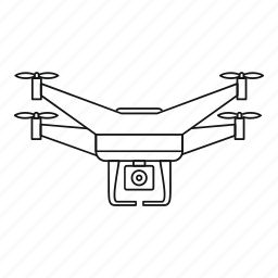 aerial, camera, drone, line, outline, quadrocopter, video icon