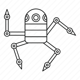 futuristic, line, outline, robot, science, spider, spy icon