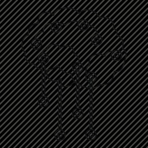 background, brain, human, line, outline, sensor, white icon