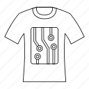electric, electronic, line, micro, outline, scheme, t-shirt icon