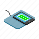 isometric, mat, mobile phone, power, powercell, recharge, smartphone icon
