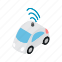 car, internet, isometric, sign, transport, vehicle, wifi icon