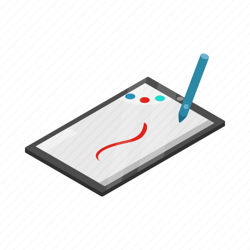 computer, drawing, graphic, isometric, pen, sketch, tablet icon