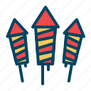 celebration, crackers, fireworks, new, rocket, year icon