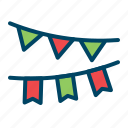 celebration, dcoration, festoon, newyear, paper icon