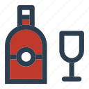 alcohol, bottle, drink, glass, new, year icon